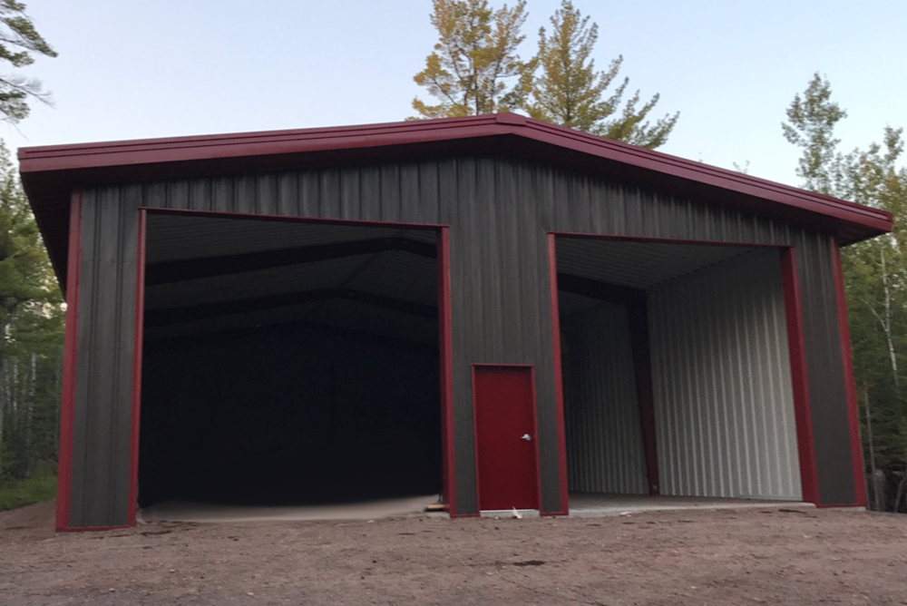 Steel shop and garage building in two harbors minnesota for Building a two car garage