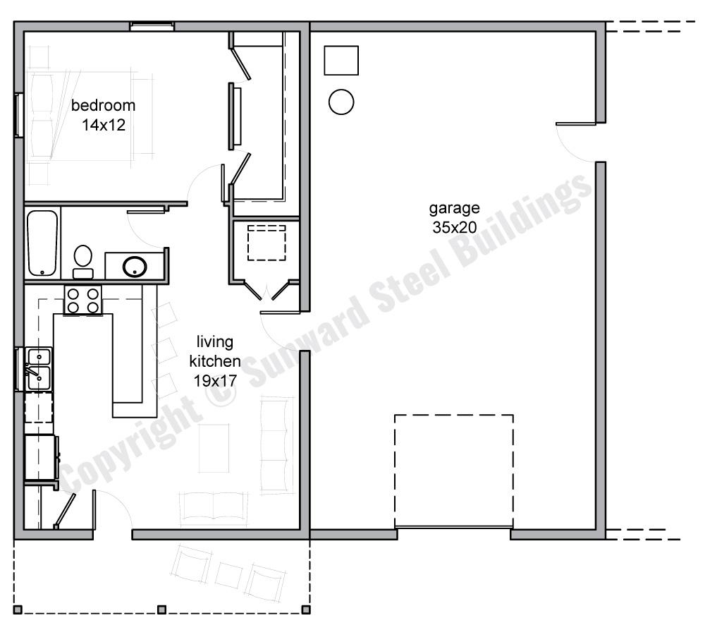 35x40 Barndominium Floor Plan