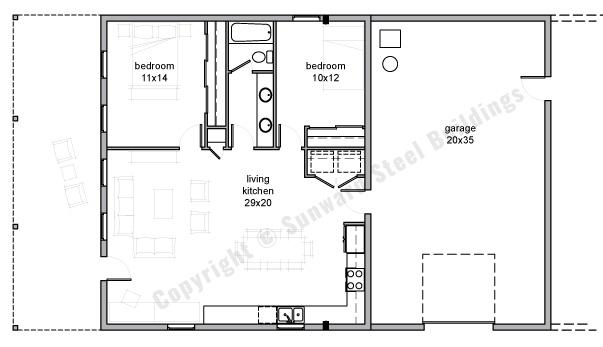 35x50 Barndominium Floor Plan