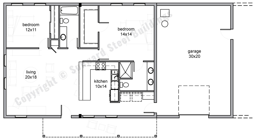 30x60 Barndominium Floor Plan