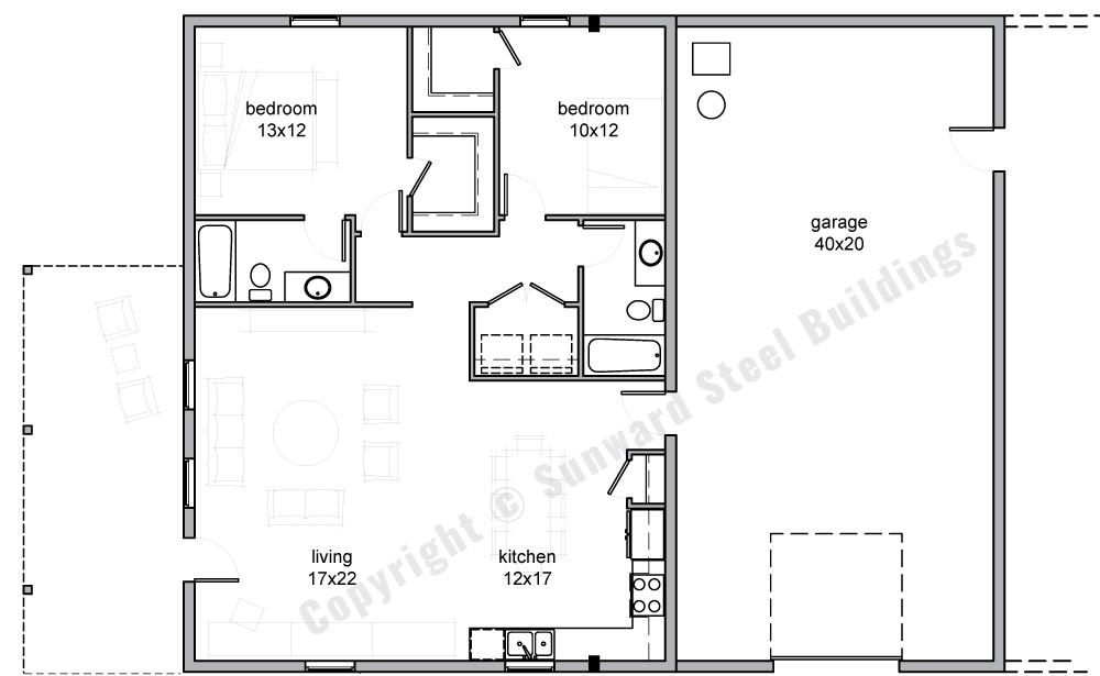 40x50 Barndominium Floor Plan