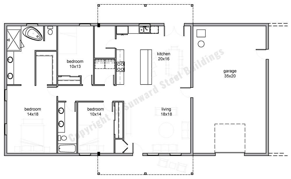 35x70 Barndominium Floor Plan